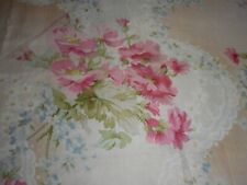 Antique Floral Forget Me Not Light Sateen Cotton Fabric ~ Pink Blue Peach