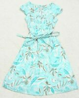 Romy Dress Woman Size XS Extra Small Floral White Blue Brown Cotton Short Sleeve