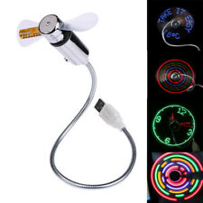USB LED CLOCK ADJUSTABLE FLEXIBLE GOOSENECK COOL FAN LAPTOP PC MINI DESK Light