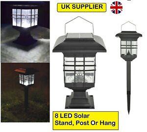 UK 8 LED Bulb Solar Garden Lights Stand, Post / Hang Lantern Patio Outdoor IP44