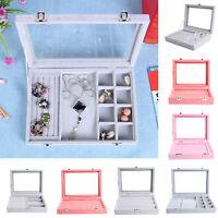 Exquisite Velvet Jewelry Box Earrings Ring Display Organizer Bracelet Container