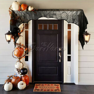 Spider Web Fireplace Scarf Mantle Cloth Door Window Cover Halloween Home Decor
