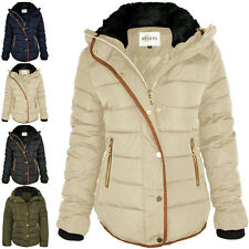 Womens Ladies Quilted Winter Coat Puffer Fur Collar Hooded Jacket Parka Size 2xl Black