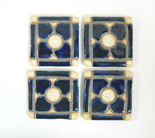 DOGWOOD MOSAIC TILES Handmade Ceramic Grouted Craft Tiles NAVY BLUE Set of 4