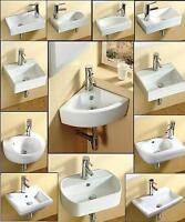 Bathroom Cloakroom Wall Hung / Wall Mounted / corner / Ceramic Basin Sink