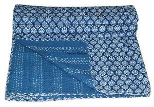 Handmade Indian Kantha Quilt Indigo Blue Blanket Gudari Quilt Kantha Throw Queen