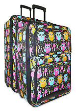Cute Owl Print Expandable 2 pc Piece Luggage Set for Travel Soft Sided Check In