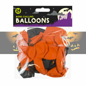 24 Halloween Party Balloon Decoration Balloons Black & Orange Spooky Print Latex