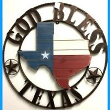 """26"""" STATE OF TEXAS WOOD METAL RING GOD BLESS TEXAS WESTERN HOME DECOR RUSTY ART"""
