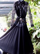 NEW Circle T By Marilyn Lenox USA Black & silver fringe Design Dance Dress Aust