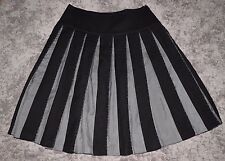 Toast Black & Grey Wool & Silk Pleated A-Line Beaded Embellished Skirt Size 12