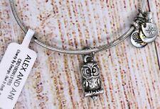 New NWT Alex and Ani Owl II Charm Bangle Silver Bracelet