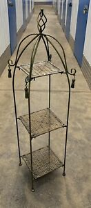 Early/Mid c20th Wrought Iron 3 Wicker Shelf Étagère Shop Display Etc.
