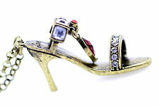 Vintage retro style bronze and crystal high heel shoe charm necklace