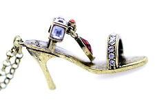 Vintage Retro Estilo Bronce Y Cristal Zapatos Tacón Alto Collar de encanto