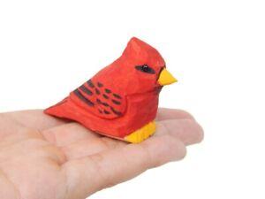 Cardinal Wooden Figurine Statue Red Bird Miniature Songbird Art Memorial Gift