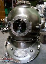 """Morse US Navy Mark V Diving Divers Helmet Solid Steel Full Size 18"""" Vintage"""