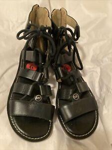 MICHAEL KORS Gladiator Sandal 6 Black Gun Metal Zip Leather Rubber Lace Up New