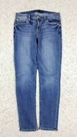 Express Women's Legging Mid Rise Distressed Wash Blue Jeans Sz 6S Short Stretch