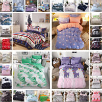 4Pcs Reversible Complete Duvet Cover Bedding Sets with Fitted Sheet+Pillowcases