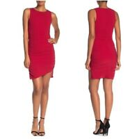NSR Women's  NWT Red Ruched Sleeveless Asymmetrical Tank Bodycon Dress Small