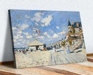 CANVAS WALL ART  PRINT ARTWORK  Claude Monet The boardwalk on the beach