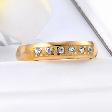 Women Clear Cubic Zirconia Yellow Gold Plated Wedding Band Ring Size 6.5