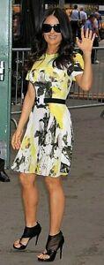 Gorgeous Christopher Kane Yellow/Black Print Silk Dress Uk6/Us4/Eu34 - RRP$1200