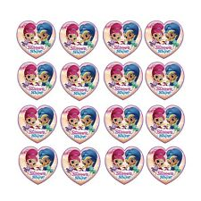 16x EDIBLE Shimmer Shine heart Cupcake Toppers Birthday Wafer Paper 4cm (uncut)
