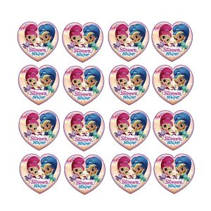 24x Shimmer Shine Edible Cupcake Toppers Birthday Wafer Paper 4cm (uncut)