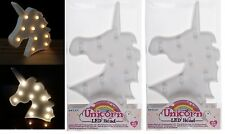 2x White Plastic Unicorn Head10 Warm White LED Light Table Lamp Bedroom Girls