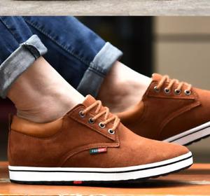Men Loafers Suede Hidden Heel High Top Trainers Casual Elevator Shoes Black