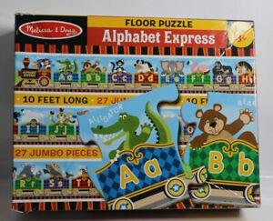 "Melissa & Doug ALPHABET EXPRESS Train 27 PIECE Floor puzzle #4420 = 120"" X 6"""