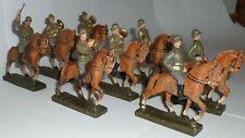 8 Soldaten Reiter mit Pferd Kapelle Wehrmacht Lineol - Gesamthöhe 8,5 cm