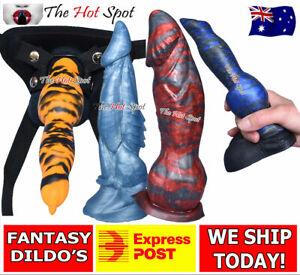 Fantasy Dildos Dragon Bad Unicorn Dildo Dong Strap On Harness Sex Toy FAST POST