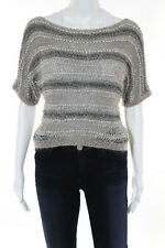 Bird by Juicy Couture Beige Gray Striped Short Sleeve Sweater Top Size Petite