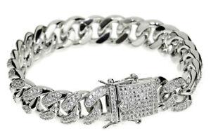 9.38CT NATURAL ROUND DIAMOND 14K SOLID WHITE GOLD WEDDING BRACELET FOR MEN
