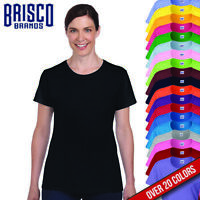 Brisco Heavy Cotton 5.4 oz Womens Semi Fitted Blank Color Blank T shirt Tee Top