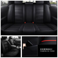 Black British Style Luxury PU Leather 5 Seats Universal Car Seat Covers Cushions
