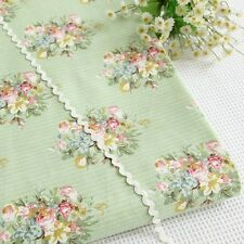 100 Cotton Vintage Floral Rose Green Fabric by The Meter Shabby Chic Fb002
