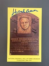 Hank Aaron Autographed *Babe Ruth* Hall Of Fame Gold Plaque Postcard JSA COA