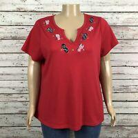 Nouveaux Americana Summer Flip Flop Print T-shirt Top 3X PLUS Bright Red V-neck