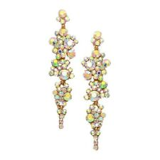 Aurora Borealis diamante earrings sparkly bling prom party bridal dangly 385-GAB