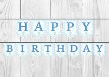 Blue Hot Air Balloon Happy Birthday Banner Bunting Decoration Birthday Party Boy