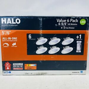 """(6-PACK) HALO RL560WH6927 LED 5"""" 6"""" Recessed Retrofit Ceiling Light with Dimmer"""