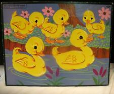 Vintage Whitman Frame Tray Inlay Puzzle Ducks Ducklings Preschool Toy 1955 Nice