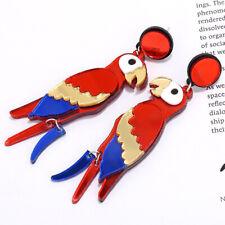 Women Acrylic Parrot Bird Drop Earrings Animal Dangle Stand Fashion Jewelry Gift