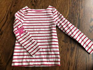Girl's MINI BODEN Pink/White Striped Knit Top - Size 7-8