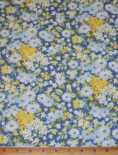 Sale Bristol Daisy Floral on Blue with Yellow 100% Cotton Fabric By Yards