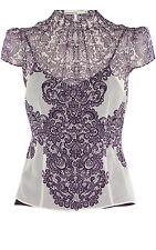 KAREN MILLEN ivory purple lace print top blouse shirt victorian gothic 10 BNWT